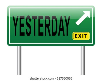 Yesterday passed day or past time road sign billboard