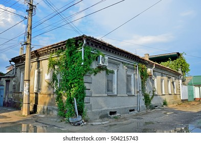 Yevpatoria, Crimea, July, 04, 2016. Nobody, old house, where in 1862 is home to the dynasty of doctors-Karaims  Kalf Isaac Abramovich