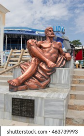YEVPATORIYA, CRIMEA - JUNE 9, 2014:Statue of Hercules on the waterfront in the center of Yevpatoriya