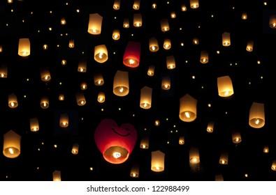 Yi Peng festival of flying lanterns in Chiang Mai , Thailand