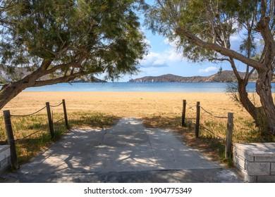Yialos beach (or Gialos), the main beach at the port in Ios. Cyclades, Greece