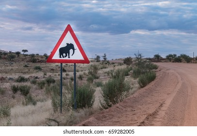 """""""Yield to elephants"""" sign on the road in Northwestern Namibia, between the Branderg Massif and Twyfelfontain"""