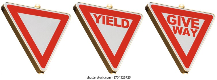 Yield and Give Way road sign, photography, isolated on white background with copy space