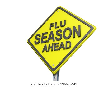 A yield road sign with Flu Season Ahead