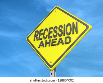 "A yield road sign with ""Recession Ahead"" with a blue sky."