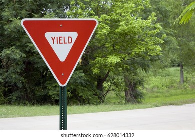 Yield Sign in a Park of Green Trees