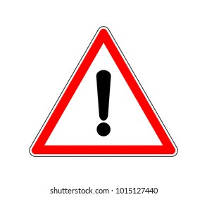 Yield Triangle Sign - Road traffic coordination symbol. Road sign warning attention with an exclamation mark.