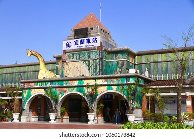 Yilan City, Yilan County / Taiwan - Apr. 1, 2018: The beautiful Yilan train station is decorated by the painting artwork and the giraffe sculpture of the local artist Gimmy.
