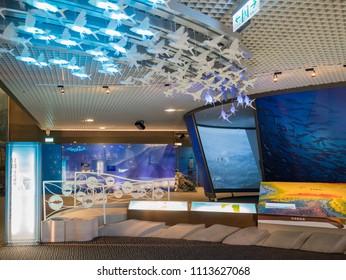 Yilan, MAY 24: Interior view of the beautiful Lanyang Museum on MAY 24, 2018 at Toucheng Township, Yilan, Taiwan