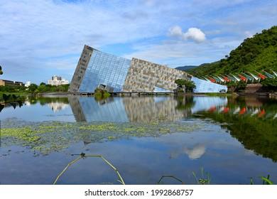 Yilan, Taiwan-June 12, 2021: Lanyang Museum in Yilan, Taiwan, The design was inspired by the cuestas seen along Beiguan Coast