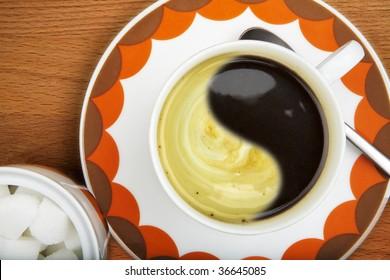 Yin Yang coffee pattern