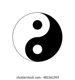Yin Yang Icon. Religion symbol. Silhouette illustration