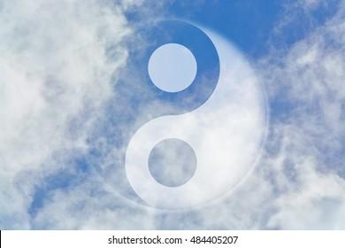 Yin Yang shaped mark on the sky
