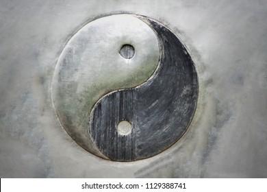 Yin Yang steel background