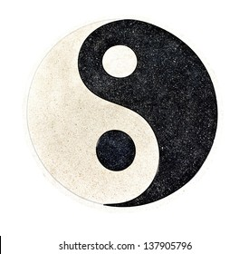 """""""Yin Yang"""" stone decorative on the floor with clipping path"""