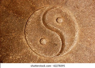 Yin Yang Symbol carved in stone