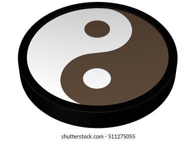 Yin Yang Symbol, isolated on white background. 3D rendering.