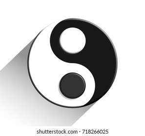 Yin and Yang or Ying and Yang  symbol in black and white isolated on white 3d illustration.