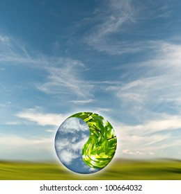 yin-yang globe concept of environment balance