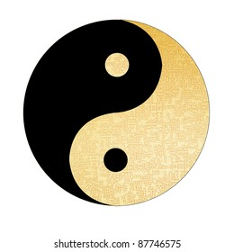 Yin-Yang symbol with chinese letter, The sign of the two elements, good for chinese new year background