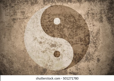 yinyang symbol on a grungy vintage texture with stains, scratches and wrinkles
