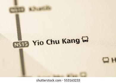 Yio Chu Kang Station. Singapore Metro map.