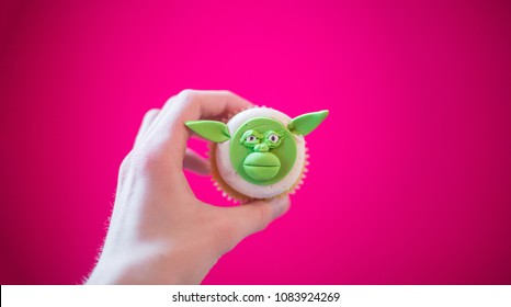 Yoda Cupcake on pink background