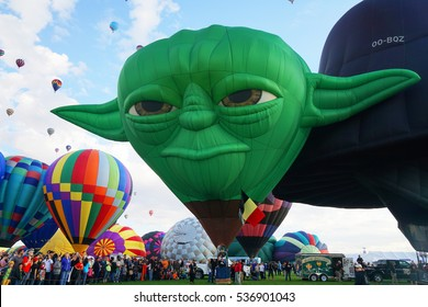 Yoda, May The Force Be With You: October 3, 2015, Albuquerque International Balloon Fiesta. Yoda hot air balloon is getting ready to take flight.