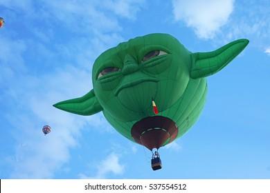 Yoda In The Sky: October 3, 2015, Albuquerque International Balloon Fiesta. Yoda hot air balloon took flight into the blue sky.