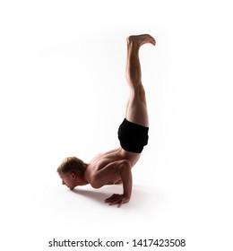 Yoga alphabet. The letter J formed by body of yogi