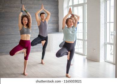 Yoga caucasian female instructor teaching group of people, fitness, sport and healthy lifestyle concept. Young women with one man performing Yoga Tree pose in gym studio