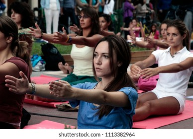 Yoga enthusiasts take part in a mass yoga session on International Yoga Day in Thessaloniki, Greece on Sep. 22, 2012.