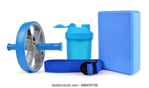 Yoga equipment isolated on a white background.