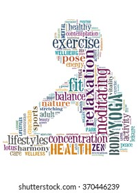 Yoga Exercise, word cloud concept on white background.
