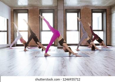 Yoga and fitness class of multi racial group of women exercising in loft fit studio, doing yoga poses and asana together. Healthy lifestyle and wellness concept
