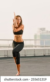 yoga fitness and lifestyle concept - woman doing sports outdoors