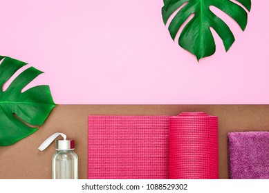 Yoga or fitness summer leaflet template, flat lay composition with a space for a text