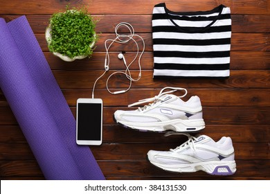 Yoga flat lay background. New year's resolution, fresh start, losing weight, determination concept.