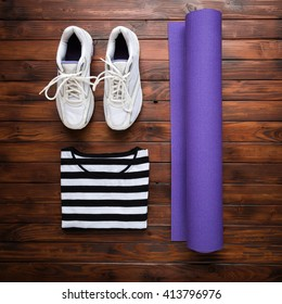 Yoga flat lay background. New year's resolution, fresh start, losing weight concept.