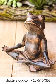 Yoga frog meditating in lotus pose. Body, mind and soul balance concept. on wooden background