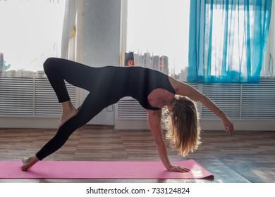 Yoga girl flexing posture