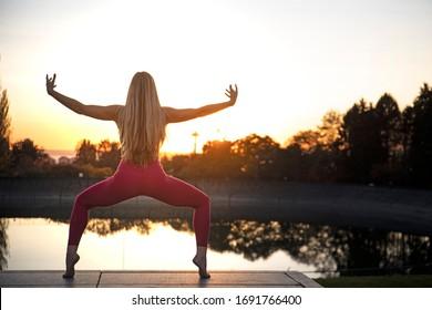 Yoga Girl Goddess Pose Silhouette View Sunlight Background