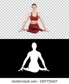 Yoga girl practicing nadi shodhana pranayama or Breathingin in gomukhasana asana or cow head pose, Alpha Channel