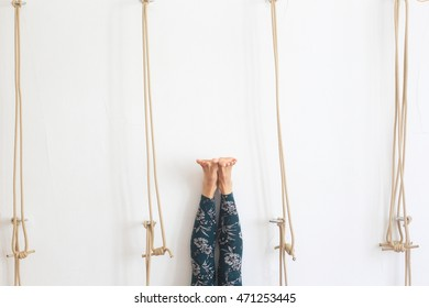 Yoga Kurunta with wall ropes