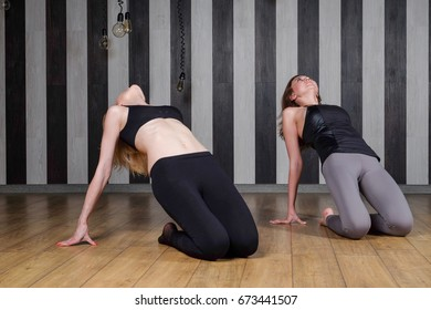 yoga lesson. Young beautiful female instructor coaching student in yoga in fitness club.