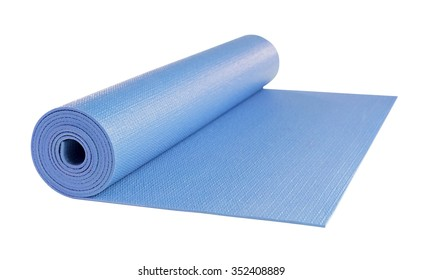 Yoga mat blue color isolated on white background, includes clipping path.