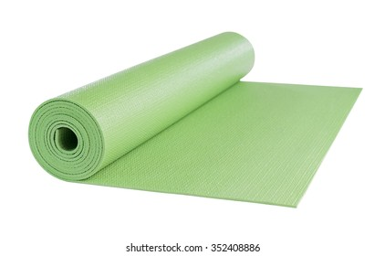Yoga mat green color isolated on white background, includes clipping path.