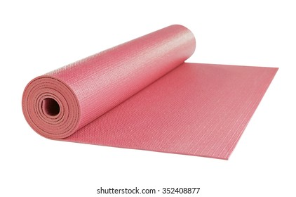 Yoga mat red color isolated on white background, includes clipping path.