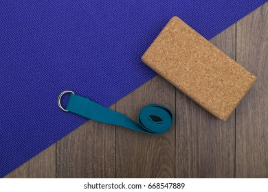 Yoga mat with strap and block
