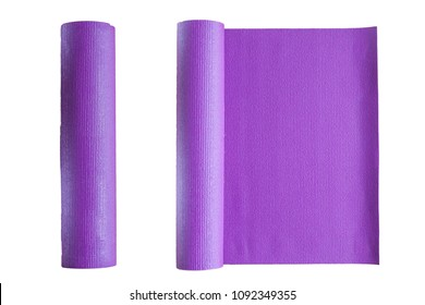 Yoga mats isolated on white background , health and fitness improvement at home